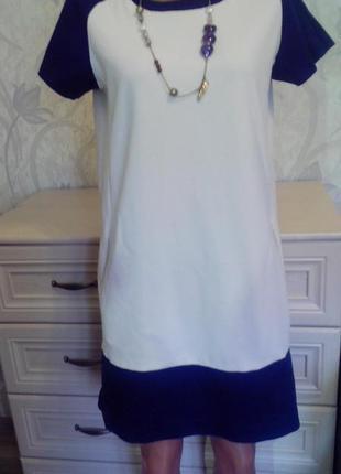 Стильное трендовое классическое платье  миди  свободного кроя mango р m