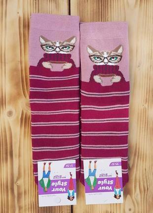 """Носки женские махровые """"кот"""", размер 25 / 37-39р."""