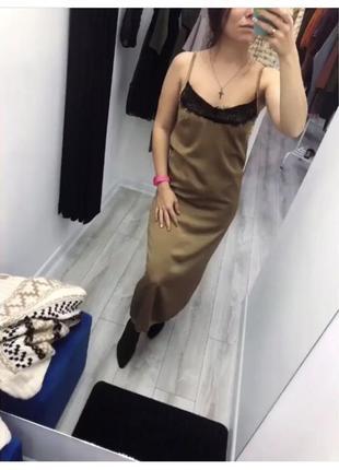 Платье комбинация с кружевом asos шелковое, атласное платье слип миди на тонких бретельках