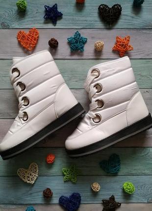 🍀 зимние белые дутики на платформе, внутри мех 🍀