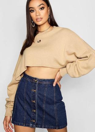 Джинсовая юбка трапеция на пуговицах asos с завышенной талией , винтажная юбка