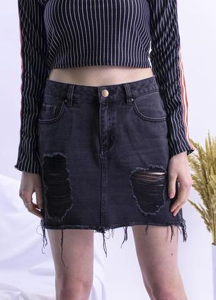 Джинсовая юбка рваная, джинсовая черная юбка короткая, юбка кэжуал, юбка с дырками
