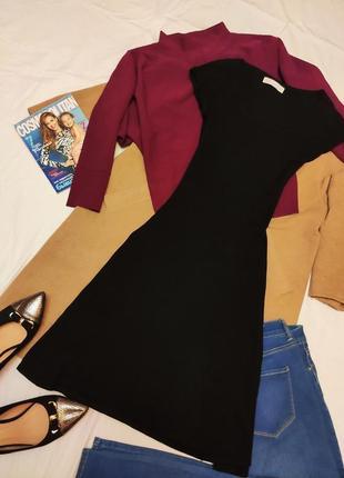 Платье чёрное миди стрейчевое зара zara классическое повседневное базовое