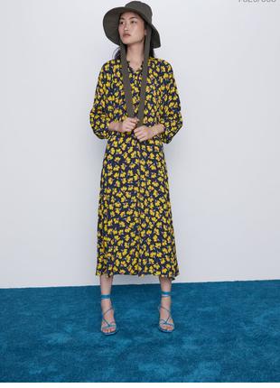 Платье zara сукня в квіти жовта розмір хс - с