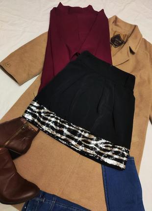 Юбка чёрная с пайетками серебристыми с карманами под пояс дороти перкинс