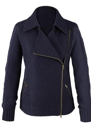 Куртка косуха из шерсти tcm tchibo с вязаными рукавами