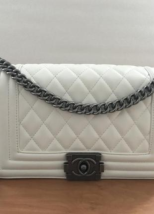 Сумка chanel boy white шанель бой белая