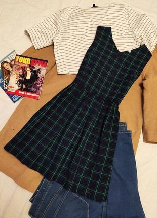 Платье клетчатое чёрное синее зелёное юбка плиссерованная