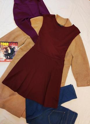 Платье бордо бордовое марсала винное под пояс большое батал атмосфера