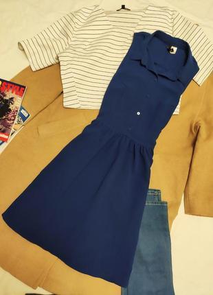 H&m платье рубашка синее на пуговицах шифоновое свободная юбка