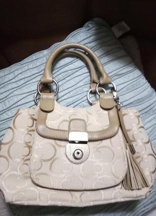 Маленькая бежевая тканевая нарядная вместительная сумочка debenhams