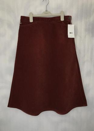 Вельветовая юбка миди из хлопка