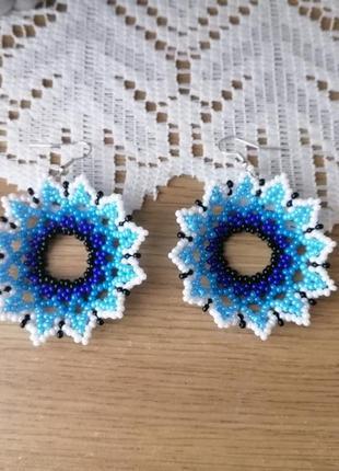 Сережки из бисера, синие цветы, сережки з бісеру