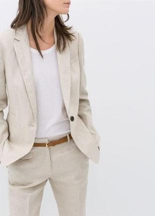 Льняной двубортный пиджак zara woman morocco