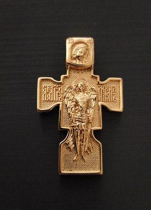 Крестик массивный архангел михаил + цепочка, позолота 18k (позолота 585 пробы)
