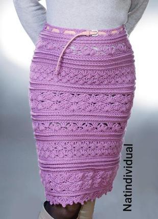 Вязаная сиреневая юбка, крупной вязкой, полушерсть