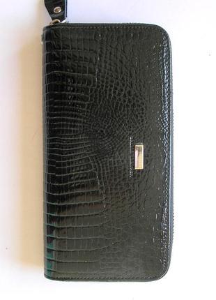 Большой кожаный лаковый кошелек-клатч dark, 100% натуральная кожа, есть доставка бесплатно