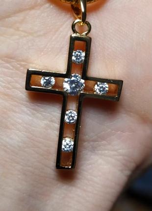 Крестик с камнями + цепочка, позолота 18k (позолота 585 пробы)