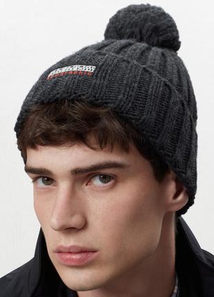Оригинальная шапка napapijri fitzegerald dark grey mel