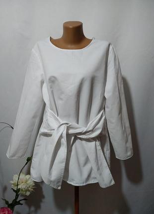 Стильная блузка с завязкой из льна и хлопка