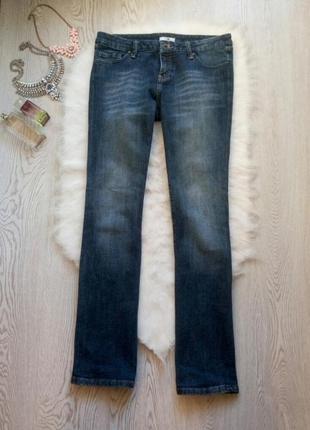 Синие плотные прямые джинсы от mk низкая талия посадка клеш