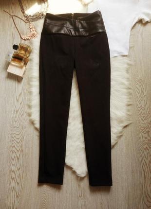 Черные лосины леггинсы высокая талия посадка с молнией замочком сзади кожаными вставками