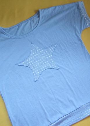 Новая футболка в серебристый горошек,сток