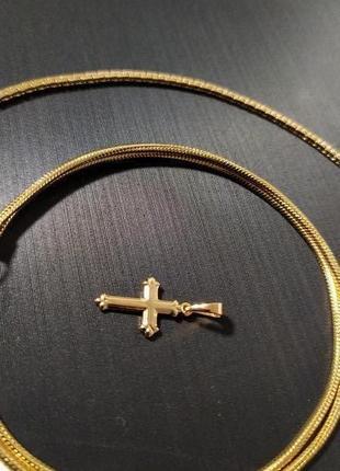 Маленький крестик + цепочка, позолота 18k (позолота золотом 585 пробы)