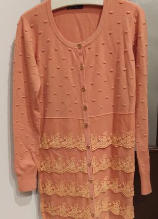 Кардиган, туніка светр персикового кольору