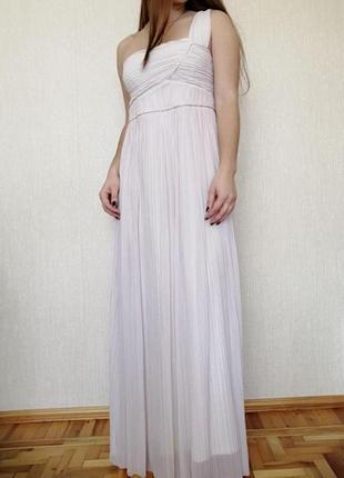 Вечернее выпускное длинное белое кремовое платье