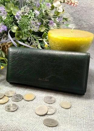Большой кожаный кошелек classik green, 100% натуральная кожа, есть доставка бесплатно