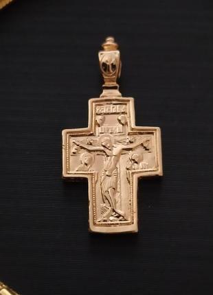 Крестик подвухсторонний с образами иисуса и девы марии,позолота 18k (позолота 585 пробы)