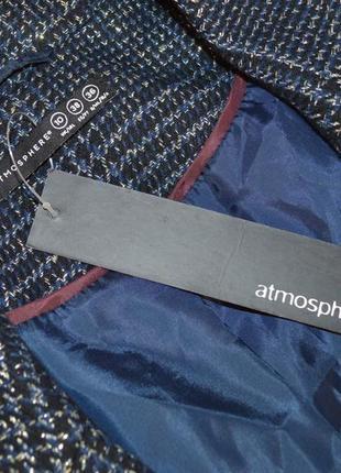 Брендовый темно-синий пиджак жакет блейзер с кожаными вставками atmosphere люрекс этикетка3 фото