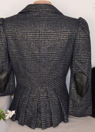 Брендовый темно-синий пиджак жакет блейзер с кожаными вставками atmosphere люрекс этикетка2 фото