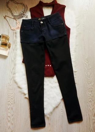 Плотные джинсы скинни шортами синие с черным низом стрейч узкачи секси американки