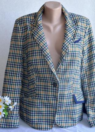 Брендовый пиджак жакет блейзер с карманами tu вьетнам акрил шерсть этикетка