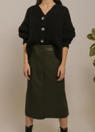 Шикарная нарядная юбка из эко-кожи трапеция цвета хаки новая
