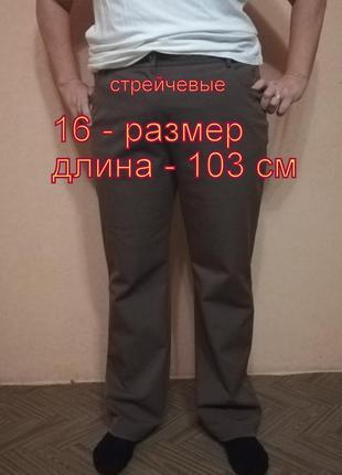 Стрейчевые штаны 16 - 18 размера  длина - 103 см  высокая посадка