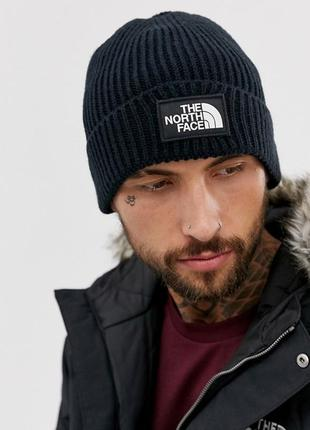 Оригинальная шапка the north face logo box cuffed beanie navy