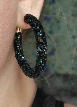 Серьги кольца хамелеон / сережки с камнями