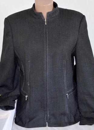 Брендовая серая куртка пиджак на молнии с карманами klass collection вискоза