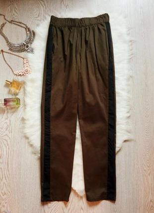 Штаны брюки джоггеры с лампасами карманами хаки полосками сбоку высокая талия посадка