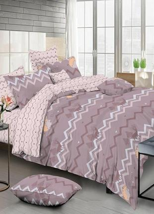 Сатиновое хлопковое постельное белье с 4 наволочками двуспальный размер