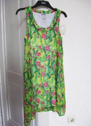 Платье летнее яркое зелёное gloria jeans цветочный принт шифоновое прямое свободное