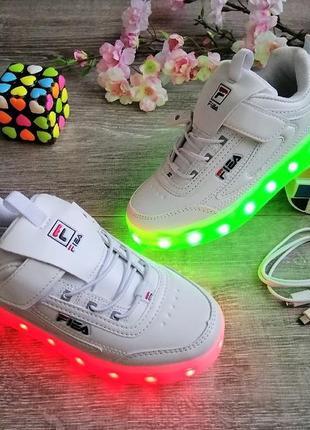 Белые светящиеся led-кроссовки с зарядкой от usb
