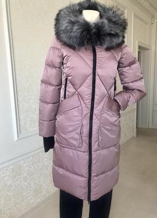 Пальто , пуховик пудрового нежно-сиреневого , розового цвета s m