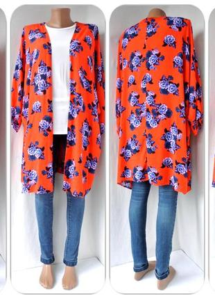 """Большой выбор! яркое удлиненное кимоно, накидка """"papaya"""" с розами. размер l."""