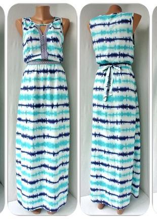 Красивейшее длинное вискозное платье tu с вышивкой . размер uk10/eur38.