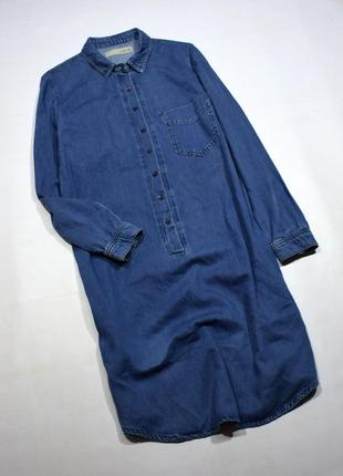 Джинсове плаття-сорочка з кишенями