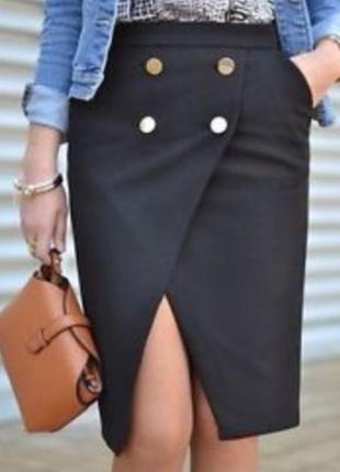 Zara идеальная плотная миди юбка с имитацией запаха и золотыми пуговицами 🔥